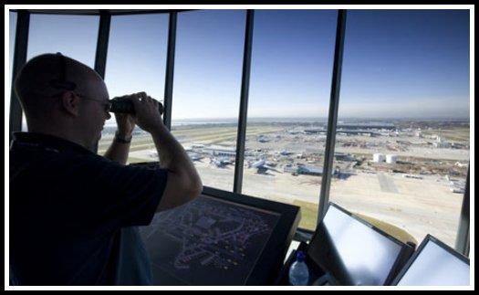 Inside view of a London-Heathrow Airport Air Traffic Control Tower