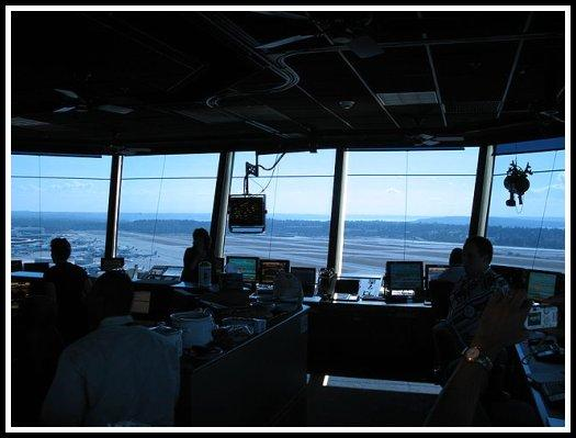 Inside view of a Seattle-Tacoma International Airport Air Traffic Control Tower