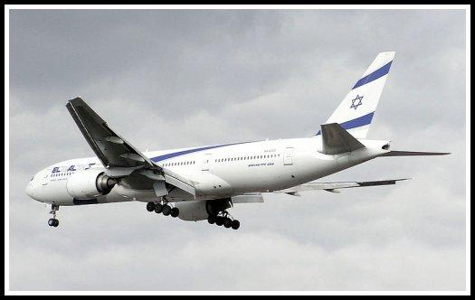 El Al Israel Airlines Boeing 777 landing at London-Heathrow Airport