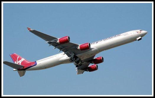 Virgin Atlantic Airways Airbus A340 taking off from London-Heathrow Airport