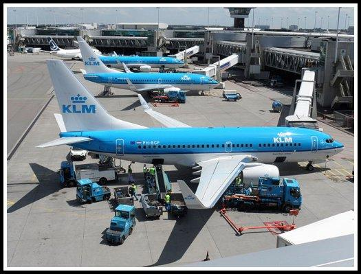 Ground handling of several KLM Boeing 737-700 aircraft at Amsterdam-Schiphol Airport