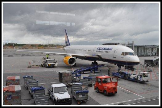 Icelandair Boeing 757 being serviced at Oslo-Gardermoen Airport