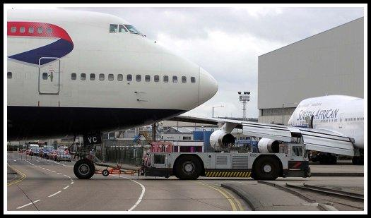 Towing of a British Airways Boeing 747 at London-Heathrow Airport