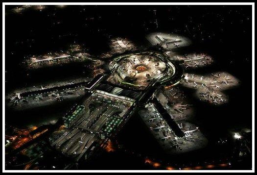 An aerial view of a San Francisco International Airport at night